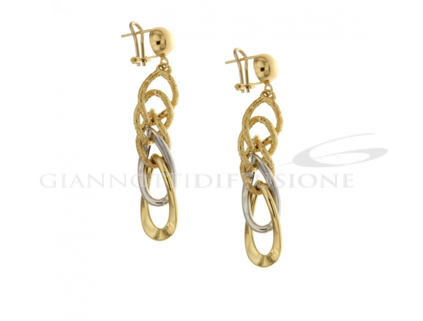 Hollow stamped cane earrings